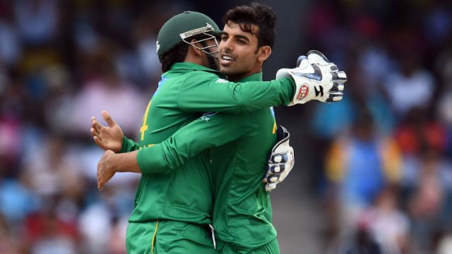 Shadab Khan jubilant after taking a wicket
